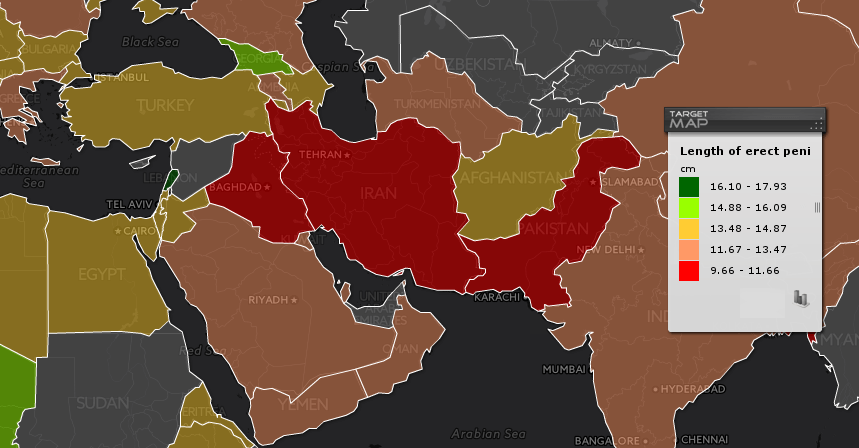طول کیر در کشورهای مختلف جهان ایران و افغانستان